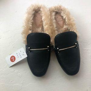 Black fur flats